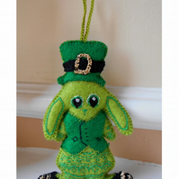 St Patrick's Day Lime Green Bunny Hanging Deco and Car Accessory Made to Order