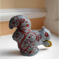 Handmade and handembroidered Grey and Red Squirrel Felt Ornament, Made to Order