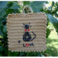 Crocheted I Love Cats Textile Wallart