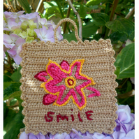 Teacher's Gift, Crocheted Wall Art, Miniature Wall Hanging, Smile
