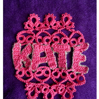 Crocheted and Tatted Personalised Name Art, Kate