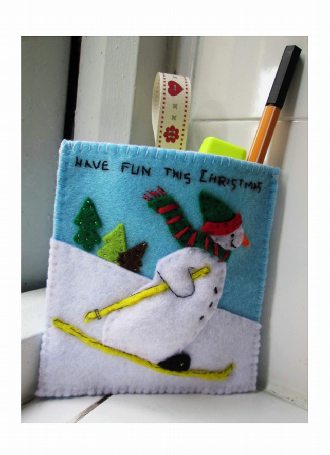 Felt Snowman Hanging Decoration, Handmade Snowman Storage Bag, One of a Kind