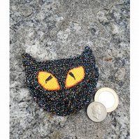 Crocheted Halloween Black Cat Purse, Coin Purse