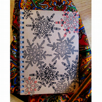A6 Handembellished Snowflakes Lined Notebook, Ready to Post