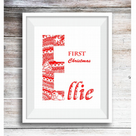 Baby's First Christmas Handdrawn Original in Pen and Ink, Custom Request