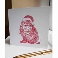 Christmas Bunny Square Blank Christmas Card, Ready to Post