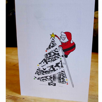 Square Blank 'Santa's Tree' Greeting Card, Ready to Post
