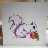 Square Blank 'Festive Foraging' Greeting Card, Pack of 4, Ready to Post