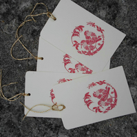 Pack of 8 Holly Robins Gift Tags, Christmas Wrapping