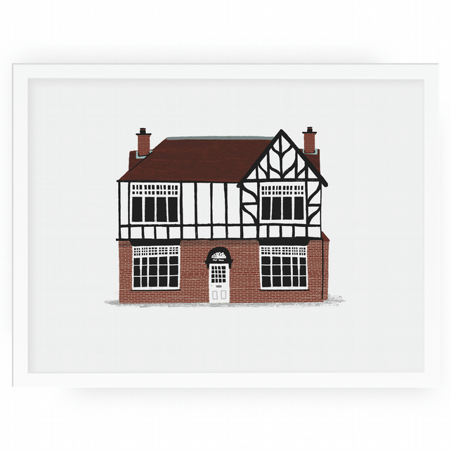 Personalised Illustrated home or shop portrait framed 23x23cm
