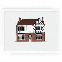 Personalised Illustrated home or shop portrait unframed 23x23cm