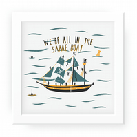 All in the same boat print 23cmx23cm