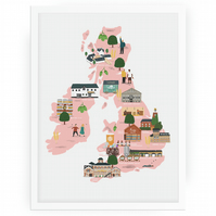 The UK Beer map 30x40cm
