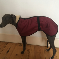 3 COLOURS Fleece Lined Waterproof Whippet Coat Size LARGE Adjustable Clip Strap