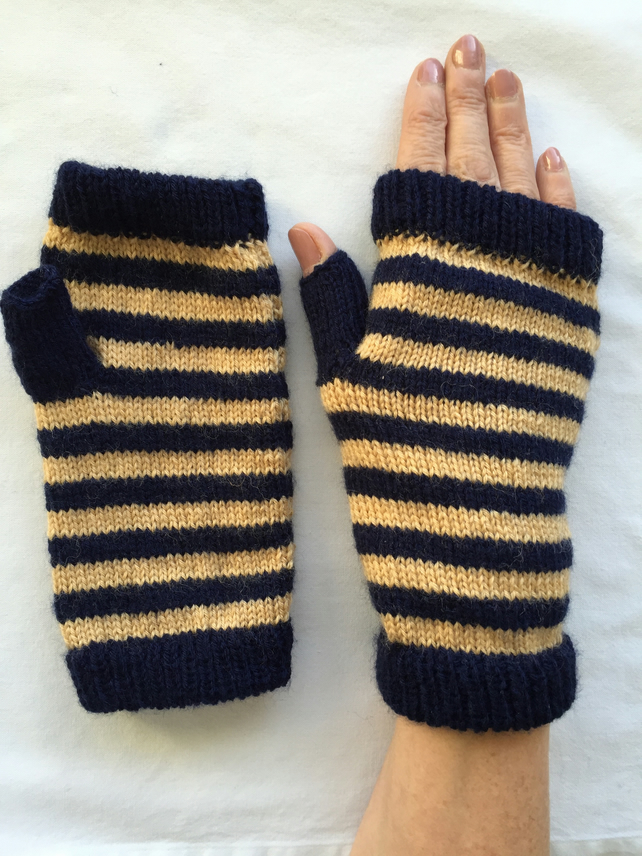 Knitting Patterns Striped Gloves : Fingerless, striped knitted gloves - Folksy