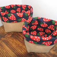 Hessian storage baskets - set of two