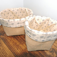 Hessian storage baskets - set of two.