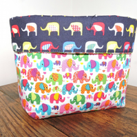 Elephant design fabric basket.