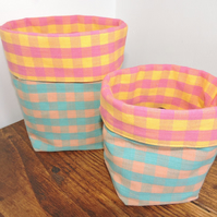 Checked Fabric Baskets - set of two.