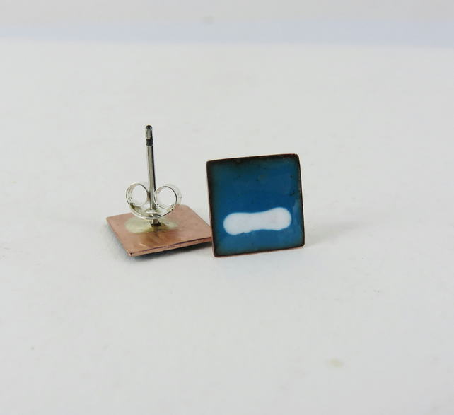 Square enamel copper stud earrings
