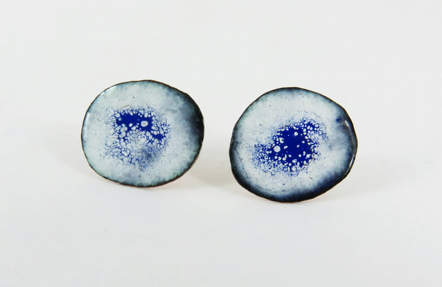 Round Blue, White and Black Enamel Studs in Copper and Silver