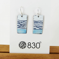 Rectangle Enamel Blue and White Dangle Earrings with Hand Drawn Pattern