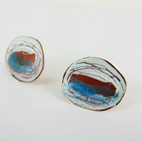 Oval Stud Copper Enamel Earrings