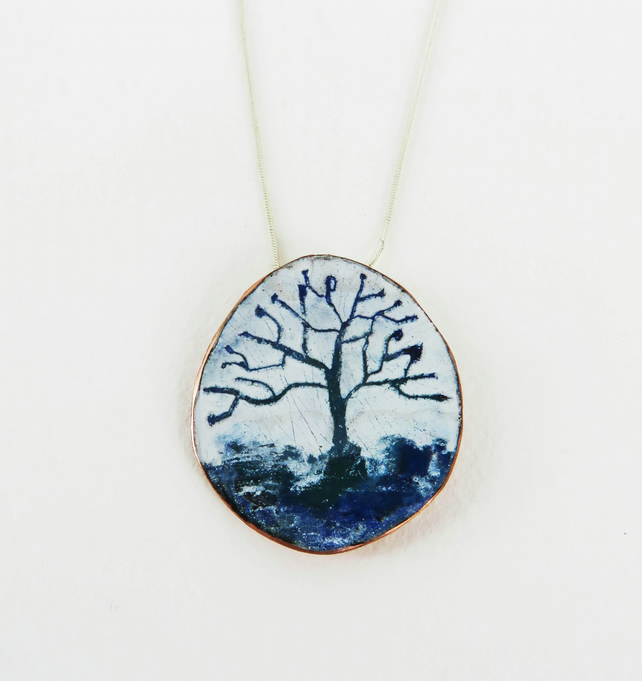 Enamel and Copper Blue and Green Tree Pendant.