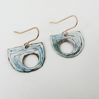 Half Circle Copper and Enamel Dangle Earrings