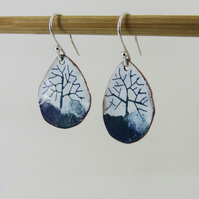 Enamel and Copper Blue and Green Tree Dangle Earrings