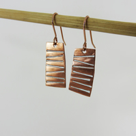 Dangle Copper Enamel Textured Earrings