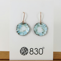Textured 'flower' Blue and White Enamel Dangle Earrings
