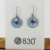 Drawn Blue and White Enamel Dangle Earrings