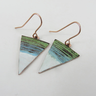 Dangle triangle textured copper earrings with blue, white and green enamel