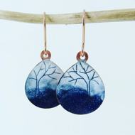 Navy and white oval teardrop dangle earrings in copper and enamel