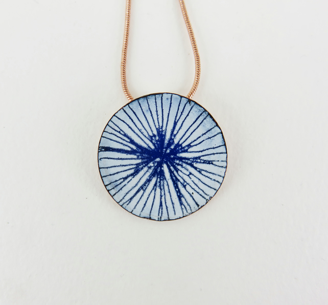 Round enamel and copper pendant
