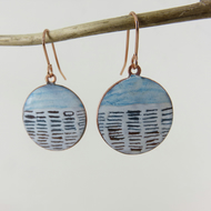 Round Copper Dangle Earrings with Enamel and Hand Drawn Detail in Blue and White