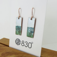 Textured Dangle Earrings in Copper and Enamel