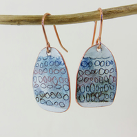 Enamel on Copper Unique Dangle Earrings with a Hand Drawn Pattern