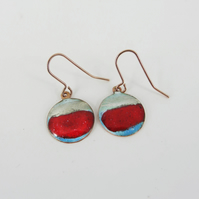 Copper earrings with red, blue and white enamel and a hint of silver