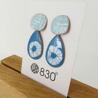 Copper Dangle Earrings with Enamel and Hand Drawn Detail in Turquoise and White