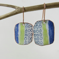 Rectangle Enamel Blue, Yellow and White Dangle Earrings with Hand Drawn Pattern