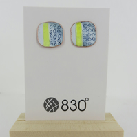 Square Enamel Blue, Yellow and White Stud Earrings with Hand Drawn Pattern