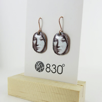 Enamel on Copper Unique Dangle Earrings with illustrated lady's face.