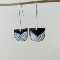 Half Circle Copper Dangle Enamel Earrings with a Hand Drawn Pattern