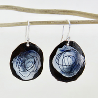 Round Hand Drawn Scribble Dangle Earrings in Black, White and Blue Enamel