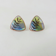 Triangle copper studs with colourful enamel washes and leaf detail.