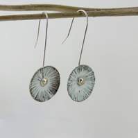 Textured Copper Dangle Earrings with White Enamel