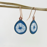 Teardrop Turquoise Dangle Enamel Earrings with Line Drawn Detail