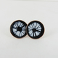 Round Stud Earrings in Copper with Black and White Enamel